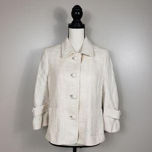 J. CREW Cream Linen Tweed Waverly Blazer